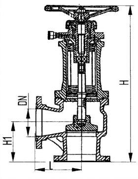 Клапан запорный фланцевый угловой сильфонный